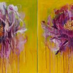 Two Roses Oil Acrylic On Canvas 80x160 Cm
